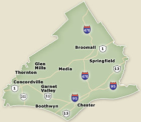 on delaware county pa map